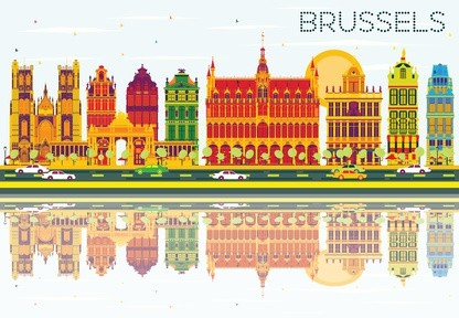 Belgique: Silhouette de Bruxelles comme Art Design
