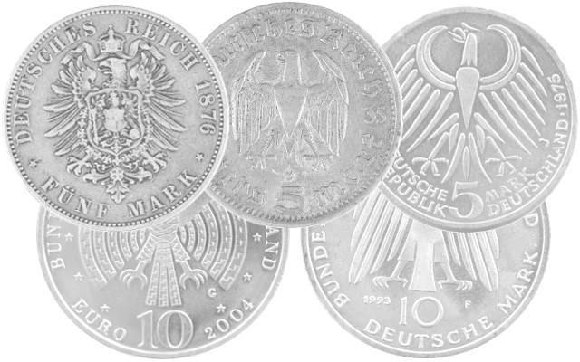 Pièces en Argent de l'Allemagne, du Reich allemand et de l'Empire allemand