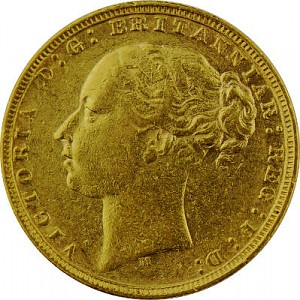 1 Livre anglaise Souverain Victoria Jeunesse 7,32g d'or fin