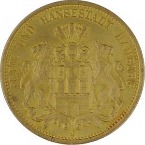 20 Mark allemand Ville hanséatique de Hambourg 7,16g d'or fin