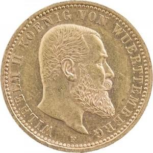 10 Mark allemand Wilhelm II Roi du Wurtemberg 3,58g d'or fin