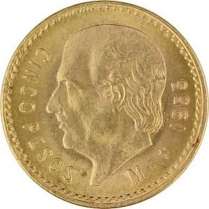 5 Pesos mexicain Hildago 3,75g d'or fin