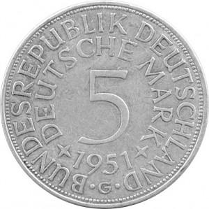 5 DM Monnaies Légales RDA 7g d'argent (1951 - 1974) - Deuxième Choix