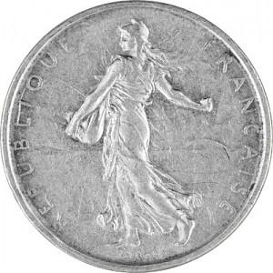 5 Franc Français 'Semeuse' 10,02g d'argent (1959 - 1969)