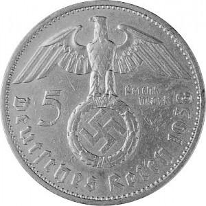 5 Reichsmark Hindenburg with Swastika 12,5g d'argent (1934 - 1939)
