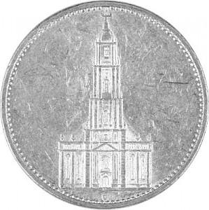 5 Reichsmark Église de Garnison 12,5g d'argent (1934 - 1939)