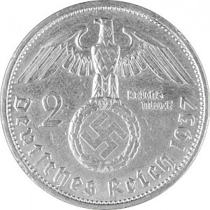 2 Reichsmark Hindenburg with Swastika 5g d'argent (1936 - 1939)