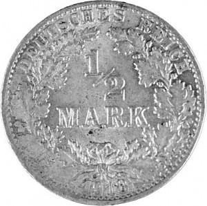 ½ Mark Empire allemand 2,5g d'argent (1905 - 1919)