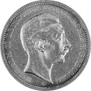 3 Mark Empire allemand 15g d'argent (1908 - 1914)