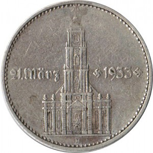 2 Reichsmark Église de Garnison avec l'année 5g d'argent (1936 - 1939)