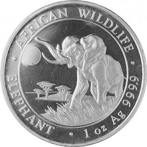 Somalia Elephant, African Wildlife 1oz d'argent fin -  2016 - deuxième choix