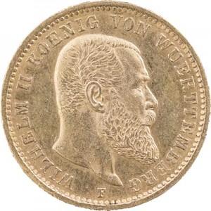 20 Mark allemand Wilhelm II Roi de Wuerttemberg 7,16g d'or fin