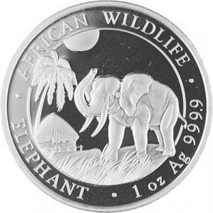 Somalia Elephant, African Wildlife 1oz d'argent fin - 2017