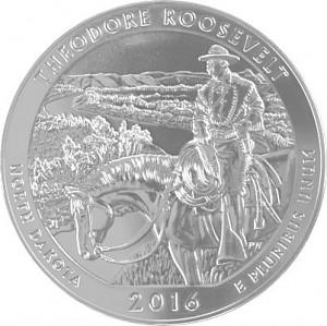 America the Beautiful - North Dakota Theodore Roosevelt 5oz d'argent fin - 2016