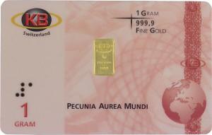 Lingot 1g d'or fin - KB-Gold Switzerland