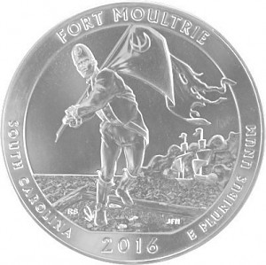America the Beautiful - South Carolina Fort Moultri Monument 5oz d'argent fin - 2016