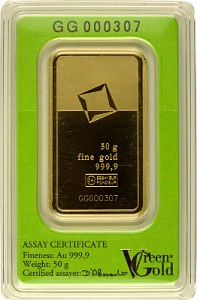 Lingot 50g  d'or fin - Green Gold VALCAMBI
