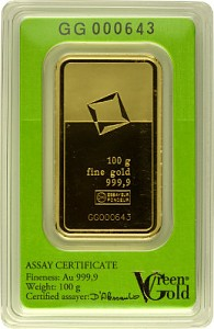 Lingot 100g d'or fin - Green Gold VALCAMBI