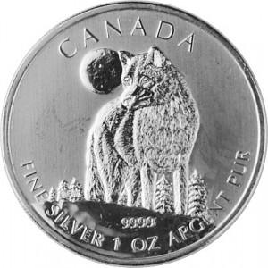 Canadien Wildlife Loup 1oz d'argent fin   2011- deuxième choix