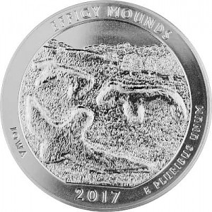 America the Beautiful - Iowa Effigy Mounds National 5oz d'argent fin - 2017