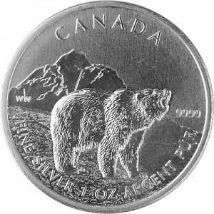 Canadien Wildlife Grizzly 1oz d'argent fin - deuxième choix