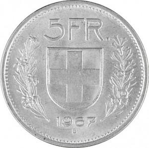 5 Francs suisses 12,5g d'argent (1931 - 1967, 69)