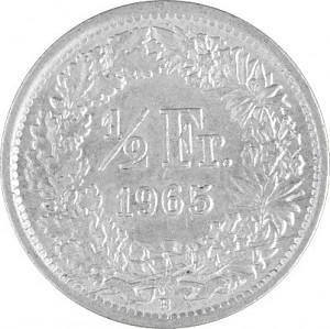 ½ Francs suisses 2,088g d'argent (1875 - 1967)