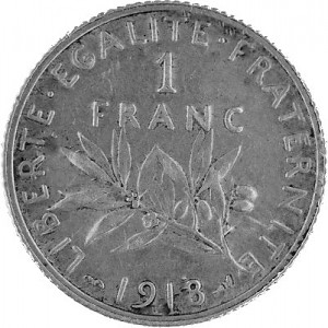 1 Franc Français 4,17g d'argent (1898 - 1920)