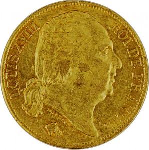 20 Francs français Louis XVIII 5,81g d'or fin
