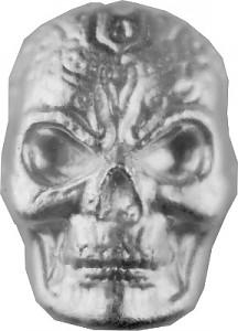Tête de morte 'Celtic Skull' lingots coulés 3D - 1oz d'argent fin versé à la main