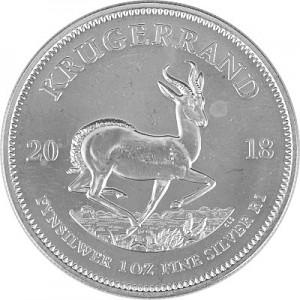 Krugerrand 1oz d'argent fin - 2018 - deuxième choix