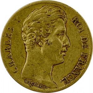 20 Francs français Charles X. 5,81g d'or fin