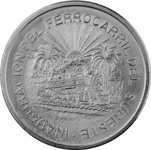 5 Pesos Mexique railroad 20,05g d'argent - 1950