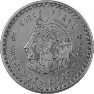 5 Pesos Mexique Cuauhtemoc 27g d'argent 1947 - 1948
