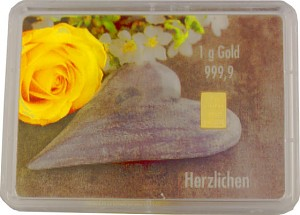Lingot 1g d'or fin - Flipmotiv 'mariage, pierre + anneaux'