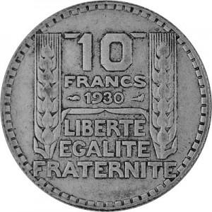 10 Franc Français 6,8g d'argent (1929 - 1939)