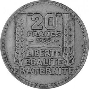 20 Franc Français 13,6g d'argent (1929 - 1939)