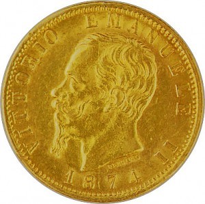 20 Lires italiennes Vittorio Emanuelle II 5,81g d'or fin 1861 - 1878
