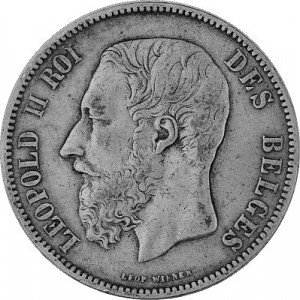 5 Franc Belgique 22,5 g d'argent  Léopold II 1867-1876