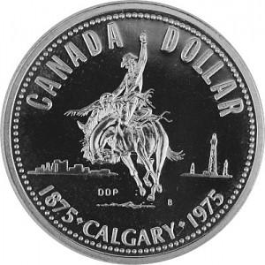 1 Dollar Canadien 100 Ans Calgary Rodeo Ranger 11,58g d'Argent fin - 1975