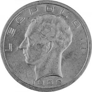 50 Franc Belgique Leopold III 16,64g d'argent 1939 - 1940