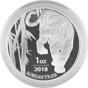 Tigre Corée du Sud 1oz d'argent fin - 2018