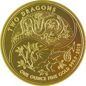 Two Dragons United Kingdom1oz d'or fin - 2018