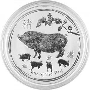 Lunar II Cochon 1oz d'argent fin - 2019