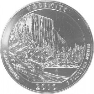 America the Beautiful - California Yosemte National Park 5oz d'argent fin - 2010