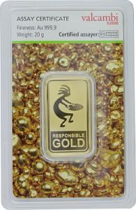 Lingot 20g d'or fin - Auropelli Responsible-Gold