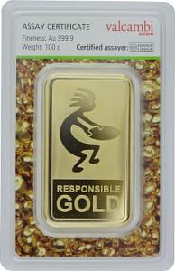 Lingot 100g d'or fin - Auropelli Responsible-Gold