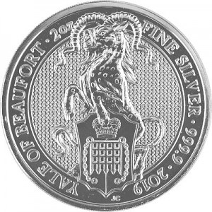 Queens Beasts Yale 2oz d'argent fin - 2019