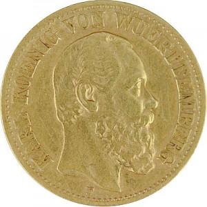 10 Mark allemand Karl Roi du Wurtemberg 3,58g d'or fin