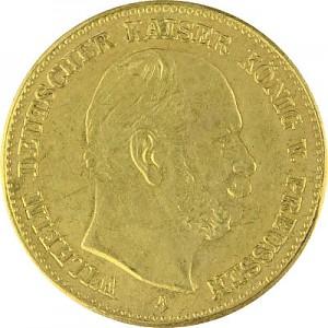 5 Mark allemand Wilhelm I de Prusse 1,79g d'or fin - 1887 Re-gaufrage